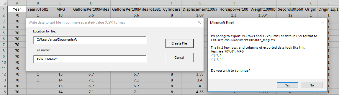 Using Excel to create R code for linear regression - RegressIt
